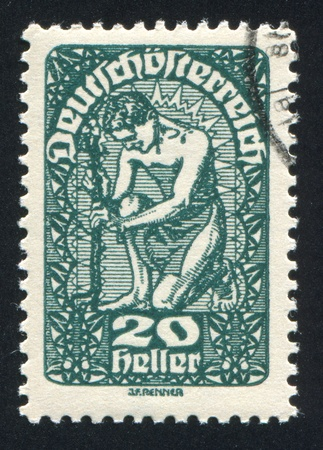AUSTRIA - CIRCA 1919: stamp printed by Austria, shows Man and flower, circa 1919 Stock Photo - 18900335