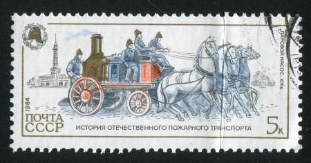 pumper: RUSSIA - CIRCA 1984: stamp printed by Russia, shows Pumper, Russian Fire Vehicles, circa 1984 Editorial
