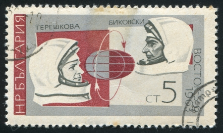 BULGARIA - CIRCA 1966: stamp printed by Bulgaria, shows Valentina Tereshkova, Valeri Bykovski, Vostoks, circa 1966 Stock Photo - 19711433