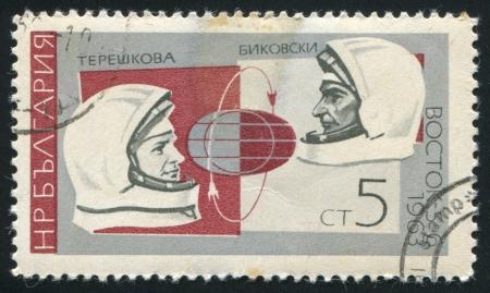 tereshkova: BULGARIA - CIRCA 1966: timbro stampato dalla Bulgaria, mostra Valentina Tereshkova, Valeri Bykovski, Vostoks, circa 1966