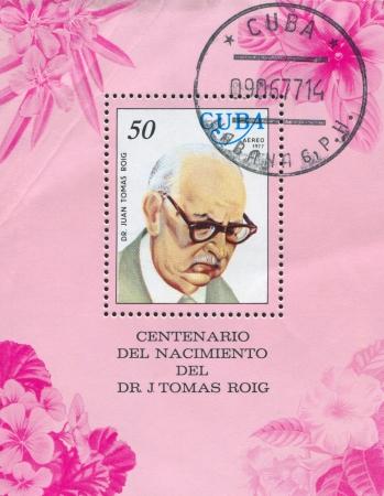 boffin: CUBA - CIRCA 1977: stamp printed by Cuba, shows Juan Tomas Roig, circa 1977 Editorial