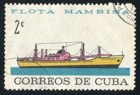 CUBA - CIRCA 1962: stamp printed by Cuba, shows Merchant ship Camilo Cienfuegos, circa 1962 Stock Photo - 19711520