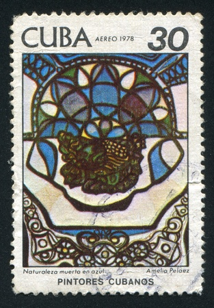 casal: CUBA - CIRCA 1978: stamp printed by Cuba, shows Still life in blue by Amelia Pelaez del Casal, circa 1978