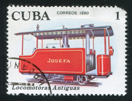 schokabsorber: CUBA - CIRCA 1980: stamp printed by Cuba, shows Locomotive Josefa, circa 1980 Editorial