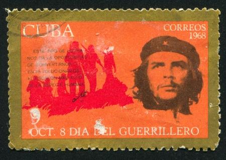 batallon: CUBA - CIRCA 1968: sello impreso por Cuba, muestra al Che Guevara y la silueta de batall�n, alrededor del a�o 1968