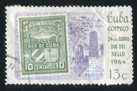 provisional: CUBA - CIRCA 1964: sello impreso por Cuba, muestra no emitido sello provisional, alrededor de 1964 Editorial