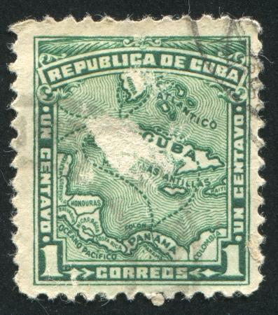 briny: CUBA - CIRCA 1914: stamp printed by Cuba, shows Map of Cuba, circa 1914