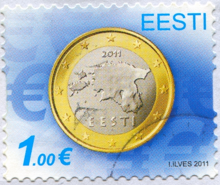 bimetallic: ESTONIA - CIRCA 2011: stamp printed by Estonia, shows Coin, circa 2011