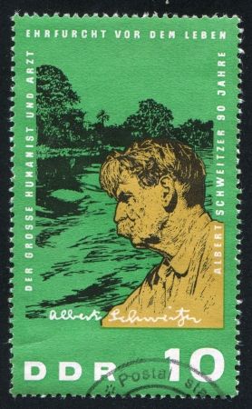 humanist: GERMANY - CIRCA 1964: stamp printed by Germany, shows Albert Schweitzer as Physician, circa 1964 Editorial