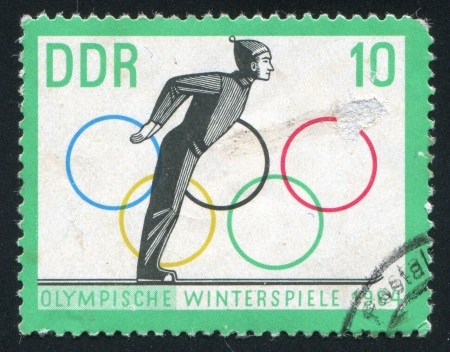 GERMANY - CIRCA 1963: stamp printed by Germany, shows Ski Jump Start and Olympic Rings, circa 1963