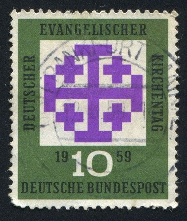 synod: GERMANY - CIRCA 1959: stamp printed by Germany, shows Synod Emblem, circa 1959