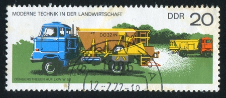 GERMANY - CIRCA 1977: stamp printed by Germany, shows Fertilizer-spreader, circa 1977