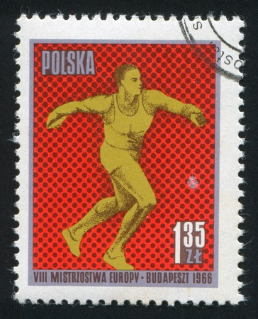 POLAND - CIRCA 1966: stamp printed by Poland, shows Discus, circa 1966 Stock Photo - 19711343