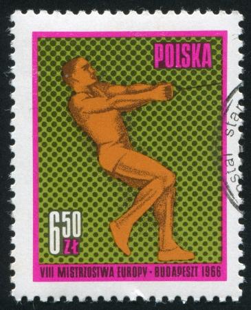lancer marteau: POLOGNE - CIRCA 1966: timbre imprim� par la Pologne, montre Lancer du marteau, circa 1966