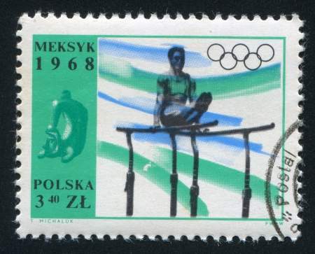 POLAND - CIRCA 1968: stamp printed by Poland, shows Athlete on parallel bars, circa 1968