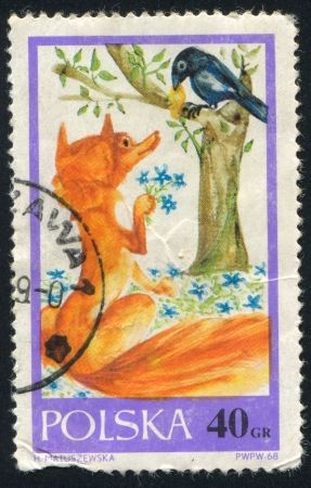 flattery: POLAND - CIRCA 1968: stamp printed by Poland, shows The Fox and the Raven, circa 1968 Editorial