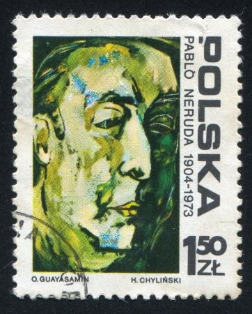 pablo neruda: POLAND - CIRCA 1974: stamp printed by Poland, shows Pablo Neruda, by Osvaldo Guayasamin, circa 1974 Editorial
