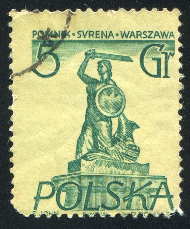 buckler: POLAND - CIRCA 1955: stamp printed by Poland, shows Mermaid, circa 1955 Editorial