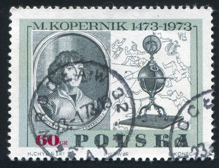 POLAND - CIRCA 1969: stamp printed by Poland, shows Copernicus, by Jeremias Falck, 15th century globe and map of constellations, circa 1969
