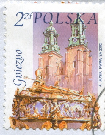 POLAND - CIRCA 2002: stamp printed by Poland, shows Cathedral, St. Adalbert's coffin, Gniezno, circa 2002