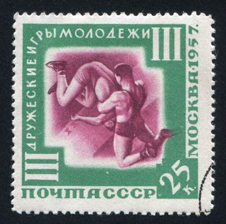 RUSSIA - CIRCA 1957: stamp printed by Russia, shows Wrestling, circa 1957