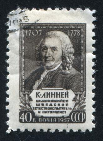 botanist: RUSSIA - CIRCA 1957: stamp printed by Russia, shows Carl von Linne, Swedish botanist, circa 1957 Editorial