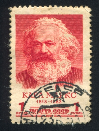 marx: RUSSIA - CIRCA 1958: stamp printed by Russia, shows Karl Marx, circa 1958