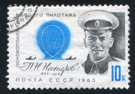 nesterov: RUSSIA - CIRCA 1963: stamp printed by Russia, shows N. Nesterov, pioneer stunt flyer, circa 1963