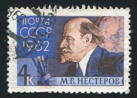 nesterov: RUSSIA - CIRCA 1962: stamp printed by Russia, shows Mikhail Nesterov, circa 1962