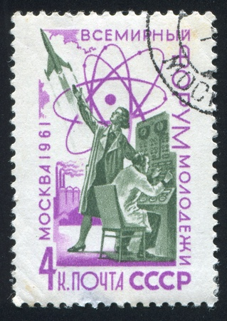 RUSSIA - CIRCA 1961: stamp printed by Russia, shows Scientists at Control Panel for Rocket, circa 1961 Stock Photo - 19995434