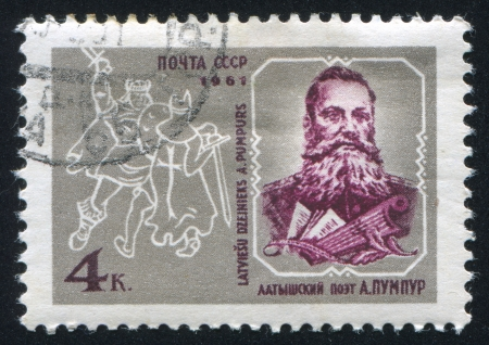 RUSSIA - CIRCA 1961: stamp printed by Russia, shows Andrejs Pumpurs, Latvian Poet and Satirist, circa 1961