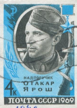batallon: Rusia - alrededor de 1969: sello impreso por Rusia, muestra Otakar Yarosh, miembro del Batall�n de Checoslovaquia Svoboda, alrededor de 1969