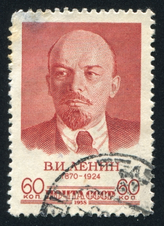 RUSSIA - CIRCA 1958: stamp printed by Russia, shows Vladimir Lenin, circa 1958 Stock Photo - 19995545