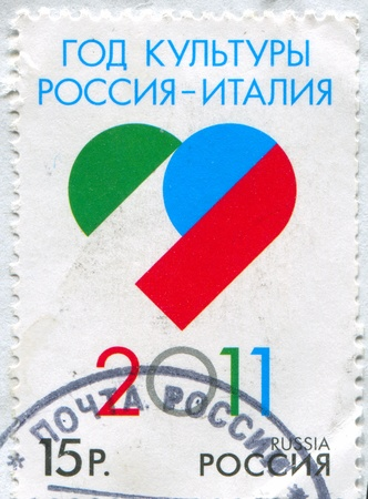 RUSSIA - CIRCA 2011: stamp printed by Russia, shows Year of russian-italian culture, circa 2011 Editorial