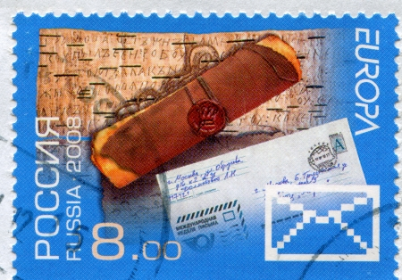 birchbark: RUSSIA - CIRCA 2008: stamp printed by Russia, shows Scroll against the birchbark letters, circa 2008 Editorial