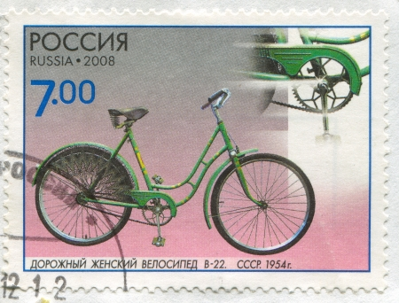 RUSSIA - CIRCA 2008: stamp printed by Russia, shows Road Female Bicycle V-22, circa 2008 Editorial