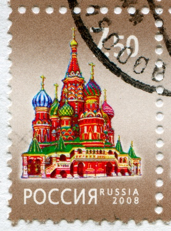 window seal: RUSSIA - CIRCA 2008: stamp printed by Russia, shows Saint Basil cathedral in Moscow, circa 2008 Editorial