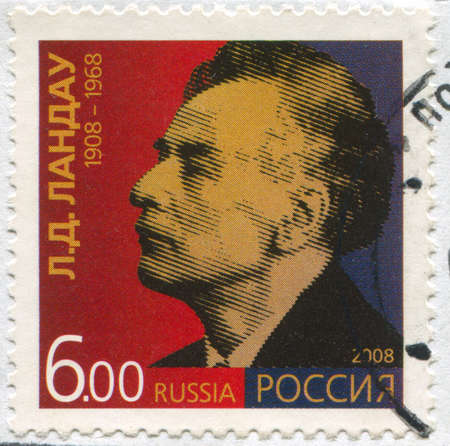 RUSSIA - CIRCA 2008: stamp printed by Russia, shows Lev Landau, circa 2008 Stock Photo - 19995419