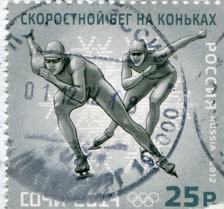 RUSSIA - CIRCA 2012: stamp printed by Russia, shows Short track speed skating, circa 2012