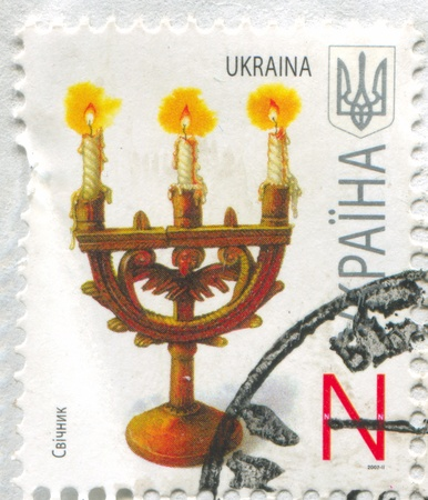 UKRAINE - CIRCA 2007: stamp printed by Ukraine, shows Candelabrum, circa 2007 Stock Photo - 19995410