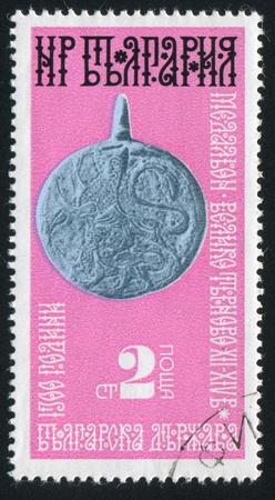 BULGARIA - CIRCA 1974: stamp printed by Bulgaria, shows Medallion, Veliko Turnovo, circa 1974 Stock Photo - 20527582