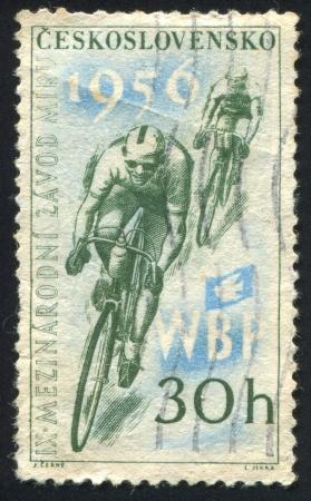 CZECHOSLOVAKIA - CIRCA 1956: stamp printed by Czechoslovakia, shows Cyclists, circa 1956