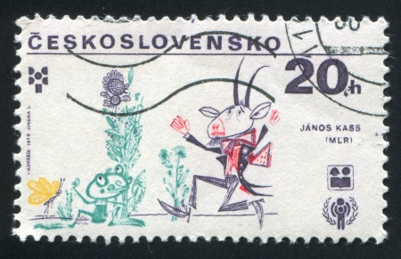 CZECHOSLOVAKIA - CIRCA 1979: stamp printed by Czechoslovakia, shows Frog and Goat, circa 1979