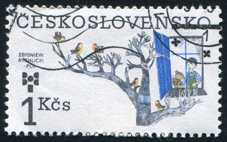 CZECHOSLOVAKIA - CIRCA 1983: stamp printed by Czechoslovakia, shows 9th Biennial of Illustrations for Children and Youth, Zbigniew Rychlicki, Poland, circa 1983