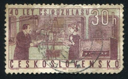 diapason: CZECHOSLOVAKIA - CIRCA 1963: stamp printed by Czechoslovakia, shows Studio and Radio, circa 1963