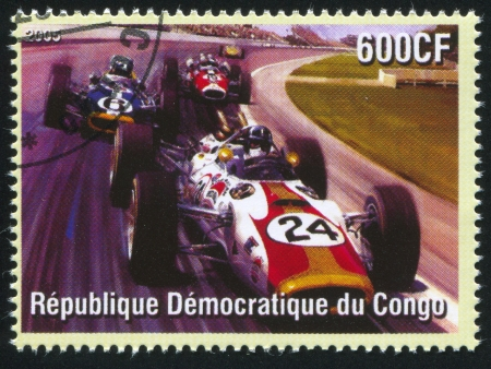 CONGO - CIRCA 2005: stamp printed by Congo, shows racing at Formula One, circa 2005