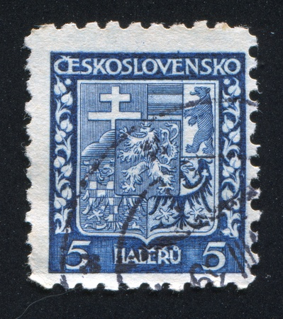 CZECHOSLOVAKIA - CIRCA 1928: stamp printed by Czechoslovakia, shows Coat of Arms, circa 1928