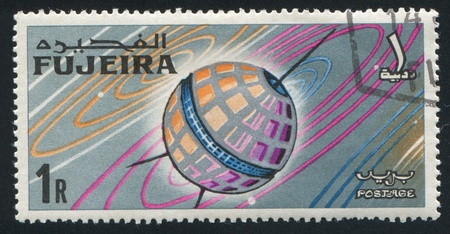 fujeira: FUJEIRA - CIRCA 1963: stamp printed by Fujeira, shows satellite, circa 1963 Editorial