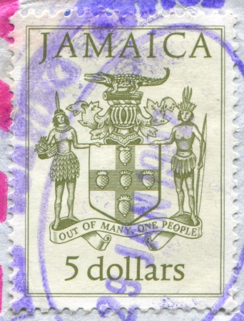 JAMAICA - CIRCA 1987: stamp printed by Jamaica, shows National Coat Arms, circa 1987