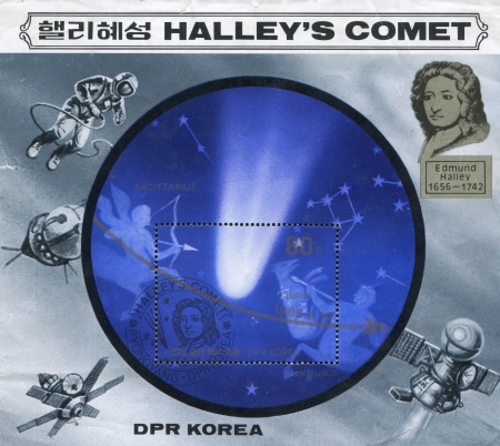trajectoire: Cor�e du Nord - CIRCA 1986: timbre imprim� par la RPD de Cor�e, montre la trajectoire de la com�te, vers 1986